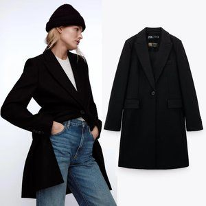 NEW Zara Wool Blend Menswear Coat Black $169 M
